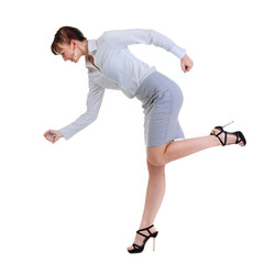Businesswoman running isolated.