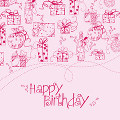 Birthday card with gift boxes. Vector illustration.