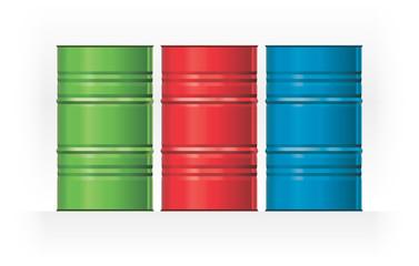 Vector set color steel barrels