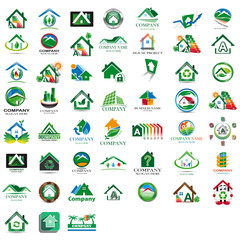 Set of green houses icon
