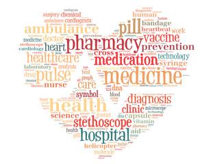 Medicine heart with heart beat line, word cloud concept 2