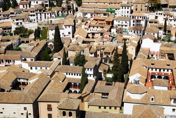 View over the rooftops of the Albaicin District, Granada.