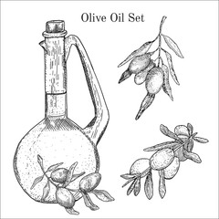 Ink hand drawn olive oil set