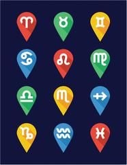 Zodiac Icons Flat Design Pin