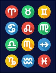 Zodiac Icons Flat Design Circle