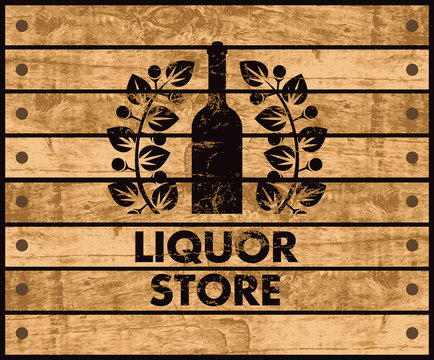 wooden box with a picture of the bottle of wine and liquor store sign