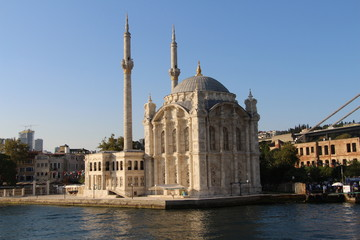 Ortakoy Mosque and Bosphorus Bridge in Istanbul Turkey