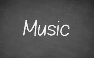 Music lesson on blackboard or chalkboard.