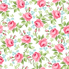 Seamless floral pattern with little red roses