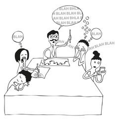 Comic: Gelangweilte Zuhörer im Meeting