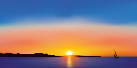 Paysage Voilier - coucher de Soleil