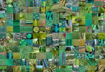 GREEN patchwork photomontage background