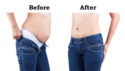 women body before and after fat belly