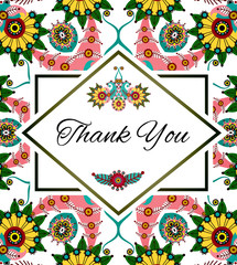 Thank you floral card. Perfect for wedding, greeting or invitation design. Vector, EPS 10.
