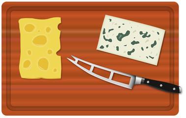 Planche à decouper fromage coupé