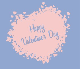 Rose Quartz heart Valentines day card on blue serenity background