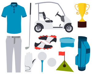 Icon set golf. Clothes and accessories. Vector illustration