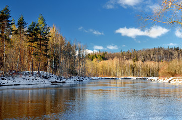 Gauja river valley winter landscape. Sigulda, Latvia