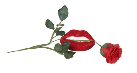 Red rose between teeth and lips