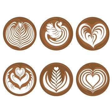 Coffee Latte Art Logo Icon Rosetta, Swan, Heart, Tulip, Tree Set