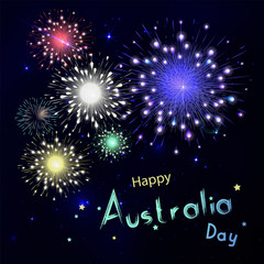 Happy Australia day with fireworks on black background. Happy ho