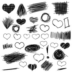 Doodle of pencil sketches. Hand drawn set scribble shapes and heart.