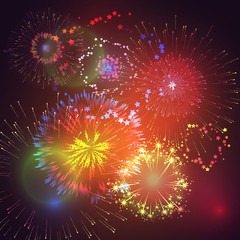 Vector illustration of fireworks and firecrackers