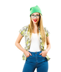 Street Style Hipster Girl Isolated on White