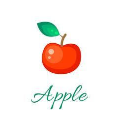 Red apple isolated vector icon. Apple fruit on branch with leaf. Red apple logo. Apple juice or jam branding logotype.