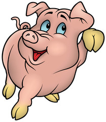 Pink Piggy - Colored Cartoon Illustration, Vector