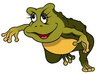 Jumping Frog - Cartoon Illustration, Vector