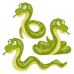 Illustration of  scary snakes on a white background