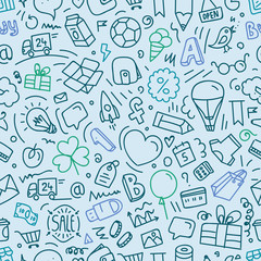 Different web interface doodle silhouettes seamless pattern. Car