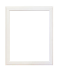 Empty wooden white picture frame isolated