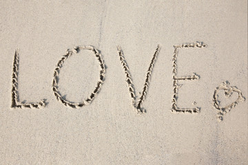 love message written in sand at beach