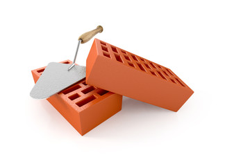 two bricks with trowel on white background. 3d illustration
