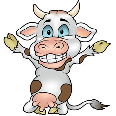 Happy Blotched Cow - Colored Cartoon Illustration, Vector