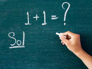Maths written by white chalk on the blackboard background