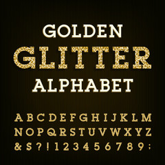 Golden glitter alphabet vector font. Letters, numbers and symbols.Vector typography for labels, headlines, posters etc.