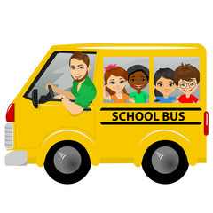 multiracial school kids riding a schoolbus