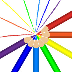 Pencils of rainbow colors and lines drawn in these colors