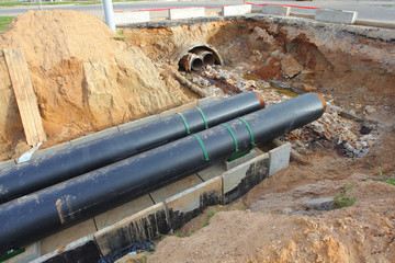 replacement of water pipes in the trench