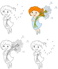 Girl flying with dandelions. Vector illustration. Coloring and d