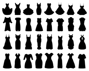 Black silhouettes of cocktail dresses, vector