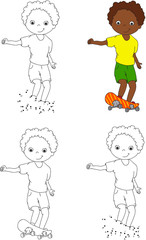 Boy on a skateboard. Vector illustration. Coloring and dot to do