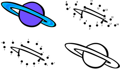 Planet Saturn and its rings. Vector illustration. Coloring and d