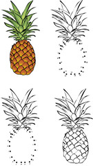Cartoon pineapple. Vector illustration. Coloring and dot to dot