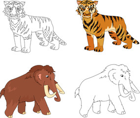 Cartoon mammoth and saber-toothed tiger. Educational game for ki