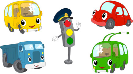 Set of cartoon bus, car, lorry, trolleybus and traffic lights