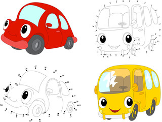 Cartoon red car and yellow bus. Vector illustration. Dot to dot